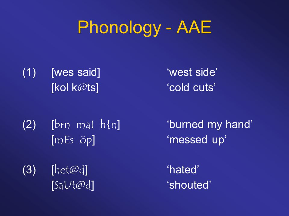 Phonology - AAE (1) [wes said] 'west side' [kol k@ts] 'cold cuts'